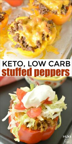 These stuffed taco peppers (keto, low carb) are cheesy and delicious. These are … These taco stuffed peppers (keto, low carb) are cheesy and delicious. These are … These taco-stuffed peppers (keto, low carb) are ca …, Pimientos Rellenos Keto, Low Carb Stuffed Peppers, Stuffed Pepper Recipes, Mexican Stuffed Peppers, Stuffed Green Peppers, Low Carb Recipes, Healthy Recipes, Salad Recipes, Atkins Recipes