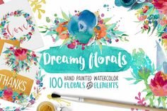 Dreamy Florals Watercolor Bundle by Creativeqube Design on @creativemarket