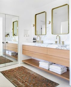 Beautiful master bathroom decor tips. Modern Farmhouse, Rustic Modern, Classic, light and airy master bathroom design tips. Bathroom makeover tips and bathroom renovation a few ideas. Bathroom Storage Solutions, Double Vanity, Modern Bathroom Design, Bathroom Vanity, Bathroom Renovations, Bathrooms Remodel, Bathroom Design, Bathroom Decor, Bathroom Renovation