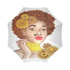 Beautiful and Sexy African Woman art Folding Rain Sun Umbrella Travel Umbrella AntiUV -- To view further for this item, visit the image link. (This is an affiliate link and I receive a commission for the sales)