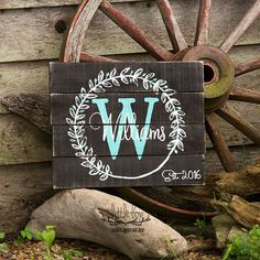Wreath Personalized Name Wood Sign // Custom Sign // Home