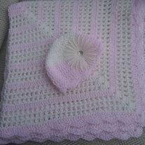 """Handmade crocheted Baby Shower - Newborn Gift baby blanket..  I only use quality yarn. This particular blanket was made with """"Caron Simply Soft"""" yarn which  feels very soft and silky to the touch.  Machine washable and dryer safe. Wonderful heirloom which can be passed from generation to gene..."""