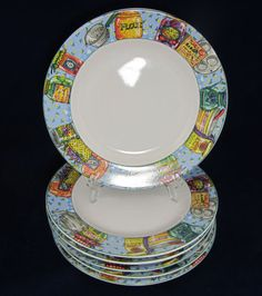 6 Piece American Atelier Stoneware Pantry Pattern White Salad Plates Mint Plate | eBay