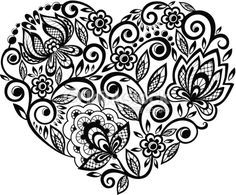 Vector Art : beautiful silhouette heart of lace flowers