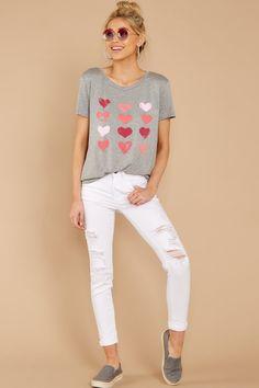 9f106ffa2616 Flirty Grey Heart Print Tee - Valentine s Graphic T Shirt - Top -  34 – Red