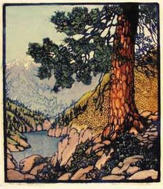 Frances Hammell Gearhart (American printmaker and painter) 1869 - 1958 Big Pine (Old Pine), s. woodcut in colours on Japanese paper, signed in pencil and titled, with margins Linocut Prints, Art Prints, Block Prints, Goya Paintings, Wood Engraving, Oil Painting Abstract, Woodblock Print, Landscape Art, Japanese Art