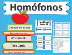 Homofonos: Este producto tiene todo lo necesario para que los estudiantes aprendan 40 palabras homofonas. Incluye 2 matching games, worksheets, and task cards.Las palabras del Juego #1 son:a, ha, ablando, hablando, arrollo, arroyo, callo, cayo, rallar, rayar, vaya, valla, habria, abria, aremos, haremos, hecho, echo, hola, ola.Las palabras del Juego #2 son:ciervo, siervo, agito, ajito, tubo, tuvo, asar, azar, coser, cocer, bello, vello, bota, vota, casa, caza, cerrar, serrar, cien…