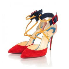 CHRISTIAN LOUBOUTIN Veau Velours Suzanna 100 Pumps 38.5 Multicolor ❤ liked on Polyvore featuring shoes, pumps, buckle shoes, evening shoes, christian louboutin shoes, stiletto pumps and high heel stilettos