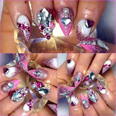 Crazy swarovski blinded out barbie girl nails #pointynails #barbienails #pinknails #claws