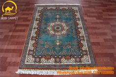 4x6 ft handmade double knots Turkish design. Hand knotted silk carpets. Red and blue combined color special design, round medallion. Please see its unique pattern