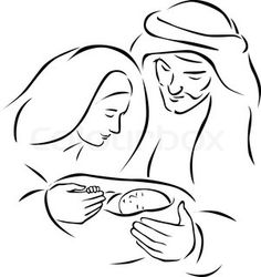Illustration about Christmas nativity scene with holy family - baby Jesus, virgin Mary and Joseph (vector illustration). Illustration of drawing, outline, xmas - 35574532 Christmas Sketch, Christmas Drawing, Christmas Templates, Christmas Paintings, Christmas Nativity Scene, Christmas Art, Christmas Ornaments, Christmas Decorations, Vector Christmas
