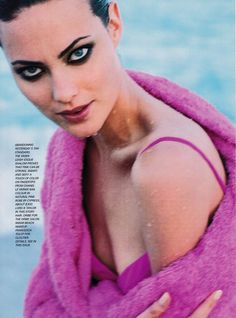 US Vogue June 1995 A Passion For Pink Ph: Herb Ritts Model: Shalom Harlow Fashion Editor: Phyllis Posnick Hair: Oribe Makeup: Francesca Tolot