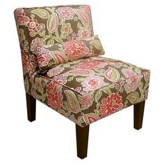 Pine-framed+accent+chair+with+floral-print+upholstery+and+foam+cushioning.+Handmade+in+the+USA.+  Product:+ChairConst...