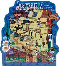 Phoenix Arizona, Bisbee Arizona, Bullhead City, Arizona Road Trip, Desert Dream, Seven Wonders, State Of The Union, State Map, Travel Posters