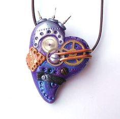 Steampunk Heart Pendant OOAK Polymer Clay Purple by CherryCarnage, £9.75