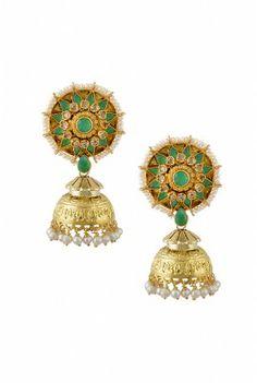 Gold emerald and pearl! The trio Jhumki!