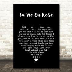 Louis Armstrong La Vie En Rose Black Heart Song Lyric Music Print