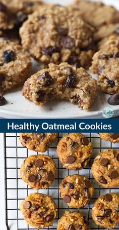 Clean eating Healthy Oatmeal Cookies with applesauce honey chocolate and raisins. NO SUGAR low calorie and kid-friendly these soft chewy cookies are the perfect healthy dessert or even snack. Oatmeal Applesauce Cookies, Healthy Oatmeal Cookies, Healthy Cookie Recipes, Healthy Deserts, Healthy Sweets, Healthy Baking, Healthy Snacks, Eating Healthy, Healthy Oatmeal Smoothies