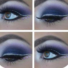 Purple white black eye Make up princess