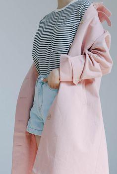 stripes shirt. denim shorts. pink coat.