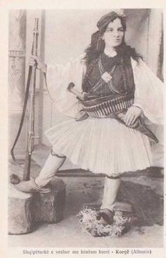 Albanian woman wearing men's clothing and carrying weapons, Korçë, Albania Folk Costume, Costumes, Albanian People, Albanian Culture, In Ancient Times, Ancient Jewelry, Woman Painting, The Girl Who, Traditional Outfits