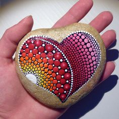 Big Heart Dot Art Mandala Painted Stone Fairy by CreateAndCherish