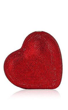 Judith leiber fullbead heart clutch in red by JUDITH LEIBER Preorder Now on Moda Operandi