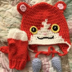 I couldn't find any inspiration for a Jibanyan hat, so here's a picture of one I made for my Yokai Watch obsessed daughter.