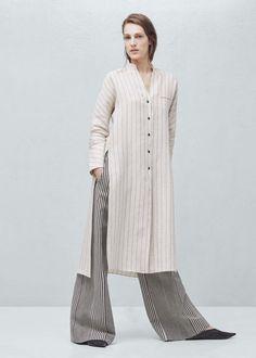 Premium - blusa linho riscas - Camisas de Mulher | MANGO Portugal