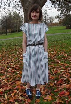 Vintage Green and Grey Striped Patch Pocket Dress With Leather Belt £18 http://asos.mp/bristol-saint-vintage