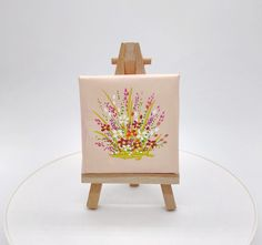 Peach & White Flower with Easel Tiny Original Painting by Julia Underwood & Jewells Art Mini Paintings, Your Paintings, Acrylic Painting Canvas, Diy Painting, Original Artwork, Original Paintings, Peach Background, Acrylic Flowers, Quilling Patterns