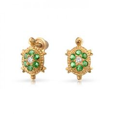 14K Emerald Color CZ Turtle Baby Stud Earrings Safety Screwback