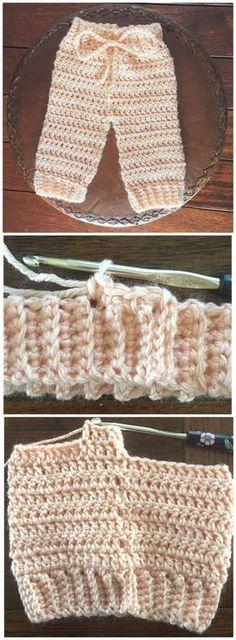 Crochet Newborn Pants – Free Pattern - Crochet Baby Pants - 9 Free Patterns - DIY & Crafts