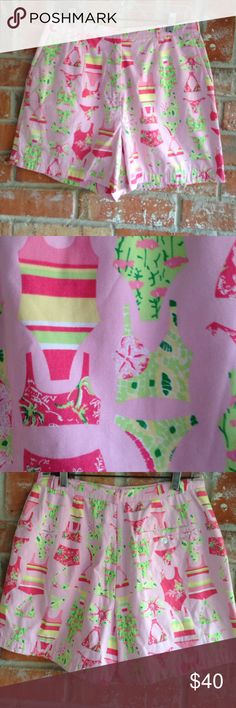 "Lily Pulitzer Shorts Pink These shorts are NWOT. Never worn. I love the bathing suit print on thesethey measure 15"" side to side at top of waist and inseam is 5"" Lilly Pulitzer Shorts"