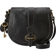 Fossil Vintage Re-Issue Flap Leather Across Body Bag, Black
