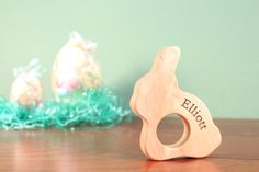 {EASTER SALE}  free personalization on bunny teether by SmilingTreeToys, $12.00 - first Easter basket gift for baby