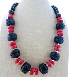Red coral necklace black wooden necklace chunky necklace
