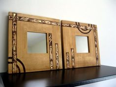 Wooden Mirrors - Harmoneous Flow, Wall Decor, Woodburned Design, Pyrography Design, Made to Order