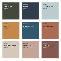 What colours will we be seeing next year? See Sherwin Williams predicted colour trends for Plus sneak peek at the moodboard for S/Y Lazy Kingfisher. Trending Paint Colors, Paint Colors For Home, House Colors, Dulux Paint Colours 2020, Warm Paint Colors, Colour Pallette, Colour Schemes, Color Trends, Sherwin William Paint