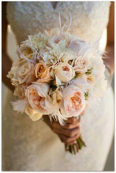 Romantic peony wedding bouquet {Photo via Project Wedding} I like the feathers Peony Bouquet Wedding, Bride Bouquets, Floral Wedding, Wedding Flowers, Feather Bouquet, Peach Bouquet, Bouquet Flowers, Lace Wedding, Real Weddings