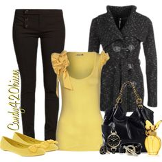 """black and yellow"" by candy420kisses on Polyvore"