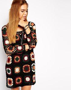 Glamorous Coloured Crochet Knitted Dress