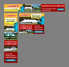 Banner Ads for Leiser's Rentals and Sales for Leiser's Rentals and Sales Catering Equipment, Custom Banners, Wedding Supplies, Ads, Learning, Studying, Teaching, Onderwijs