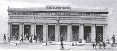 This postcard shows the exterior of Callaghan's Block which was owned by siblings Jeremiah Callaghan and Daniel Callaghan it was built in 1855. It housed two department stores and a drug store. L-R: the Shasta Book Store, proprietor Anton Roman; the City Drug Store, proprietor, Dr. Benjamin Shurtleff and Co. (later it became Roethe's Drug Store); and J.D. Callaghan, proprietors Jeremiah Callaghan and Daniel Callaghan. Photo courtesy of Shasta Historical Society.