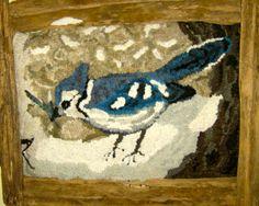 Hooked Rug ... Blue Jay ... Tish Murphy design