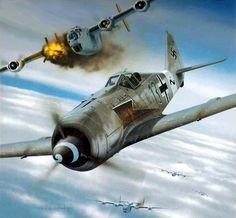 """hanspanzer: """"Fw-190 contra una formacion de B-24 """""""