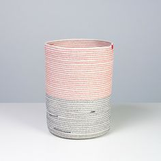 This vessel is made from 100 feet of cotton sash cord and sewing thread. The resulting textile is flexible but stiff enough to hold its shape. The thread colors are navy at the bottom and red on the top. Home Decor Accessories, The 100, Interior Decorating, Diy Crafts, Shapes, Ceramics, Image, Sash, Beautiful Things