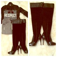 """⌛️Victoria's Secret Black Over the Knee Boots These fabulous Victoria's Secret over the knee boots will definitely turn heads wherever you go. These are brand new, never been worn but without the box. The heel is 4.5"""". The boot measures 30.5"""" from bottom to top. Victoria's Secret Shoes Over the Knee Boots"""