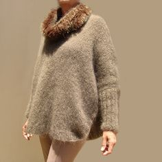 Ravelry: Sigh Poncho Sweater pattern by Tracy Schmittgen The Knitting Station Mohair Sweater, Poncho Sweater, Knit Sweaters, Designer Knitting Patterns, Hand Knitting, Ravelry, Cowl, Pattern Design, Knit Crochet