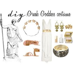 DIY: Greek Goddess Costume by theekissoflife on Polyvore. Very easy to put together with items on hand.
